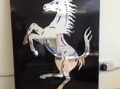 Black gloss tray with mirror finish Ferrari horse on locators