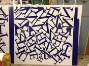Flat cut letters cut from opal acryilc