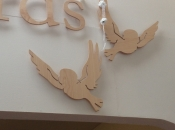 Flat cut letters and birds cut from Birch ply