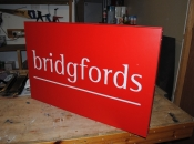 Hanging sign made from 2 trays slotted together