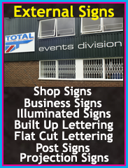 External Signage, Shop Signs, Business Signs, Illuminated Signs, Built Up lettering, Flat cut lettering, post signs, Chorley, Wigan, Preston, Lancashire