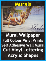 self adhesive wall murals, mural wallpaper, full colour vinyl prints, cut vinyl lettering, acrylic shapes, Chorley, Wigan, Preston, Lancashire
