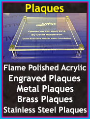 plaques, flame polished acrylic, engraved plaques, metal plaques, stainless steel plaques, brass plaques, Chorley, Wigan, Preston, Lancashire