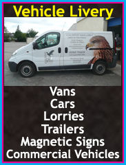 Vehicle signs, van signs, car signs, wrapping, Lorries signage, Commercial Vehicle signs, Magnetic signs, trailers, Chorley, Wigan, Preston, Lancashire