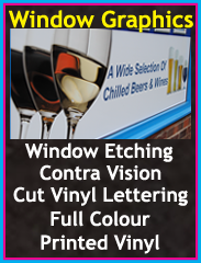 window graphics, window etching, contra vision, cut vinyl lettering, Chorley, Wigan, Preston, Lancashire